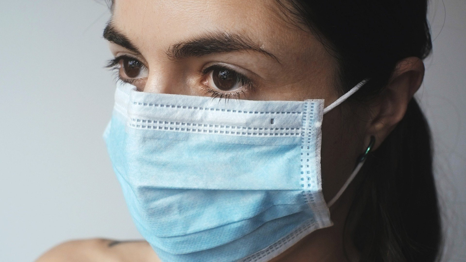 Woman with a surgical mask
