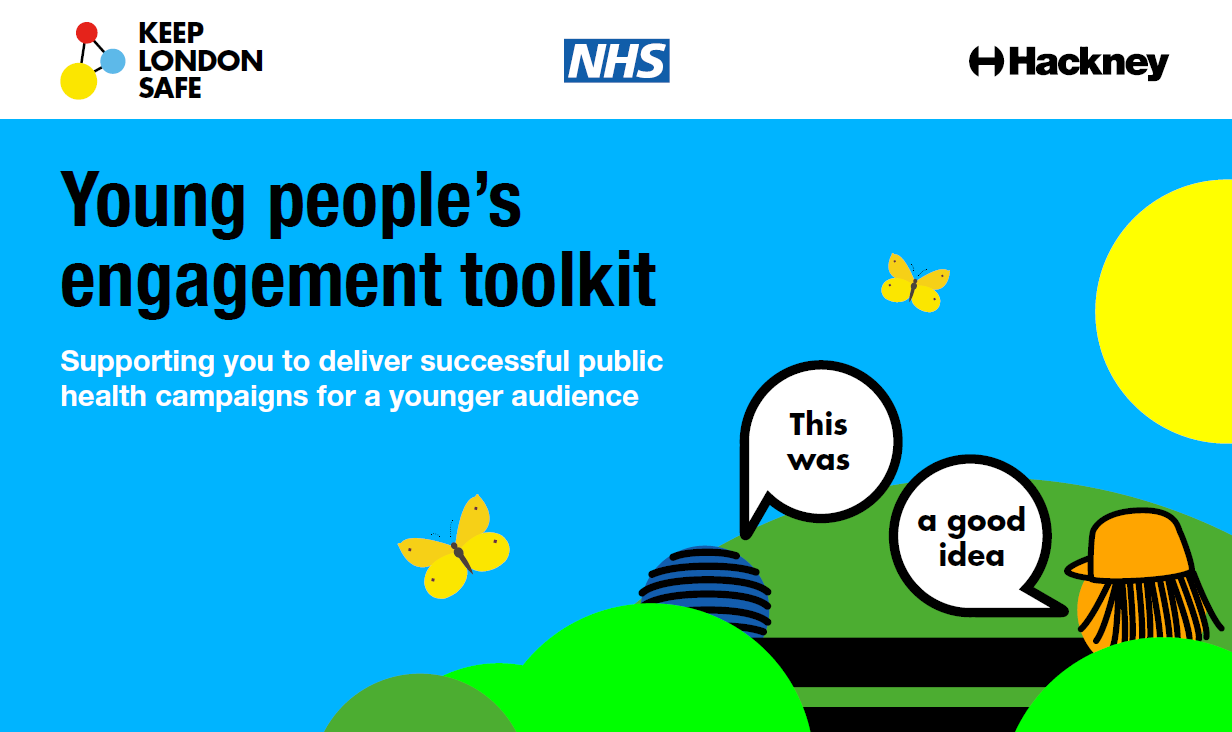 The cover of Hackney Council's young people's engagment toolkit, featuring a cartoon person partly concealed by green bushes a yellow butterfly against a bright blue background aagainst a bright blue background and a big yellow sun