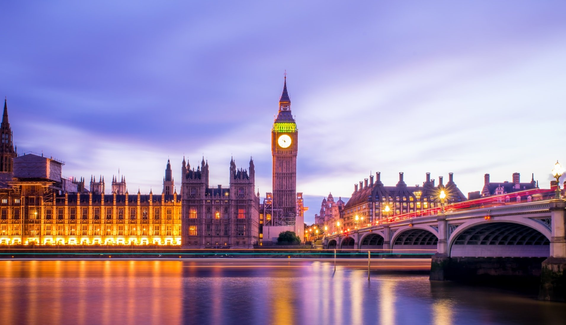 Houses of Parliament and Big Ben at dusk
