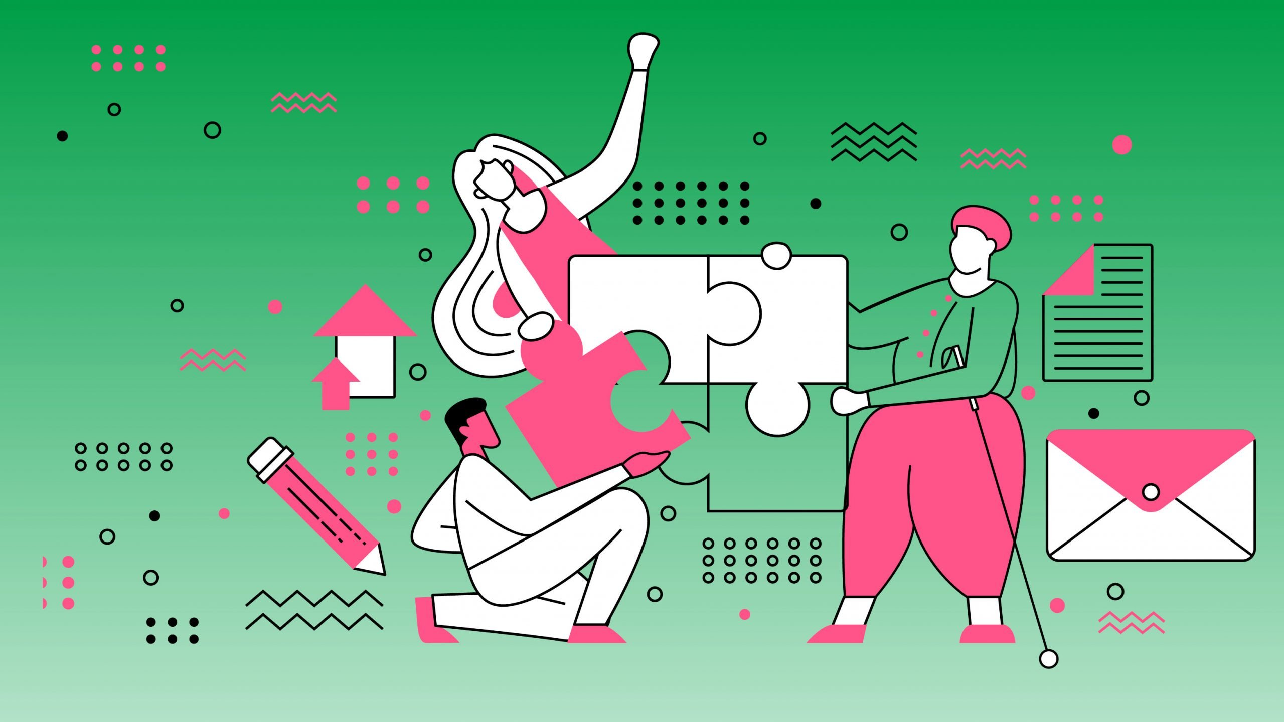 Three stylised figures representing diverse communicators, working together to piece together a jigsaw puzzle
